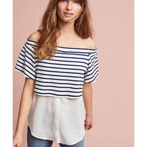 b5296284762037 Anthropologie Tops | Postmark Layered Off The Shoulder Striped Tunic ...